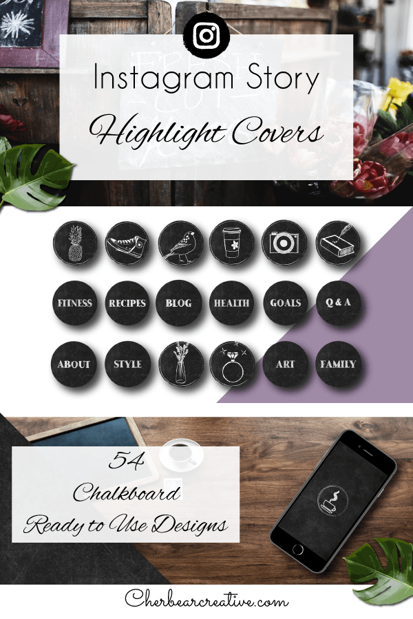 Chalkboard Instagram Story Highlight Icons