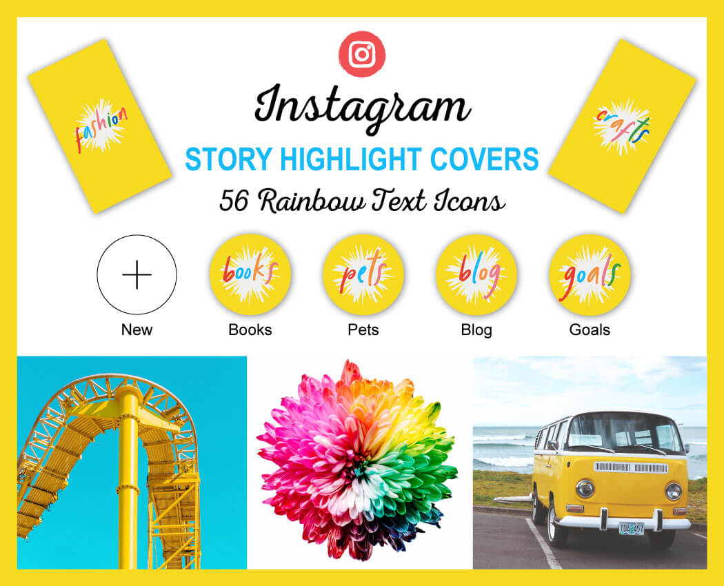 Yellow Instagram Story Highlight Cover Icons with Rainbow Text