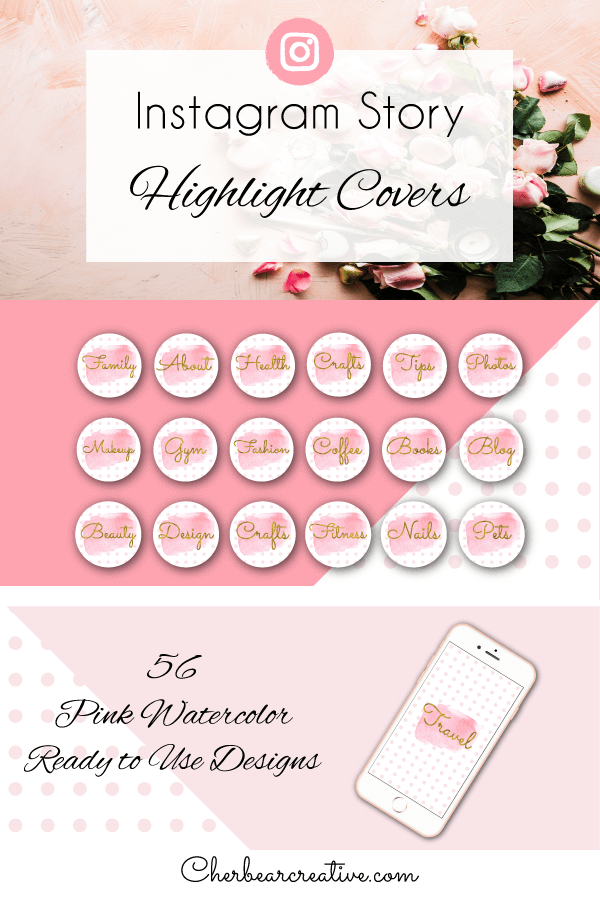 Pink Watercolor Instagram Story Highlight Cover Icons