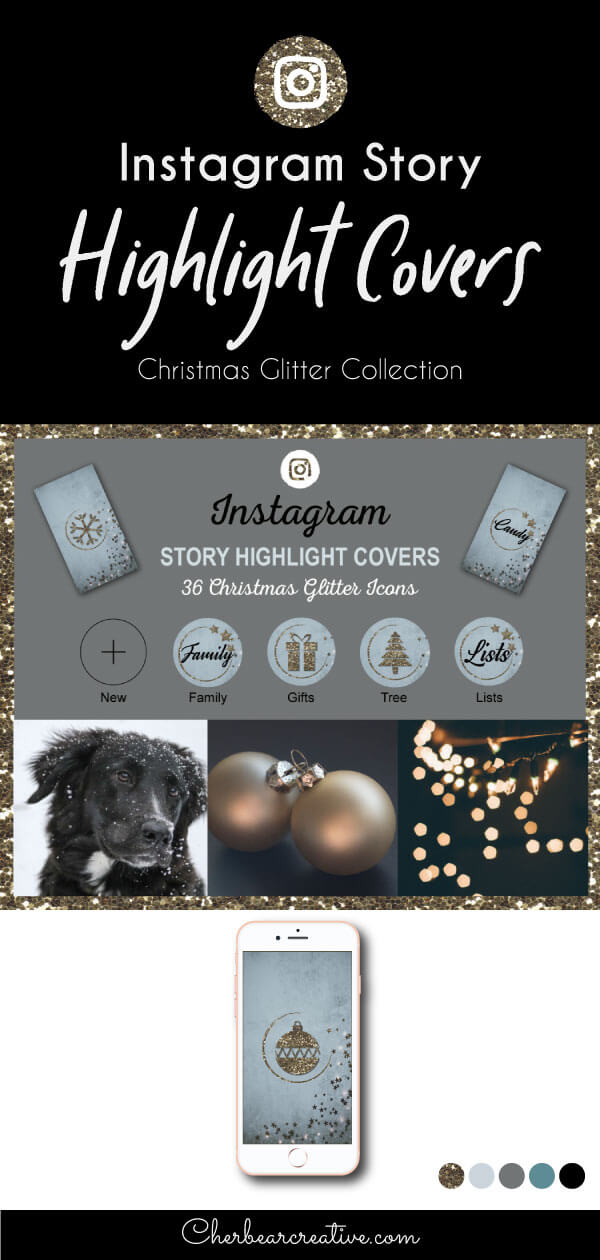 Christmas Glitter Instagram Story Highlight Icons
