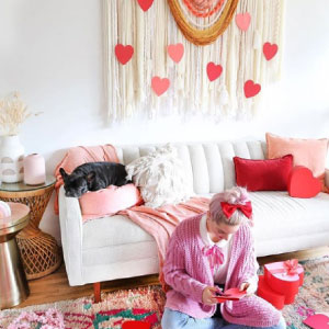 Lady decorating with hearts