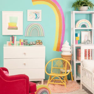 Colorful Bedroom with rainbow on the wall