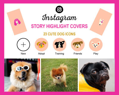 Cute and Colorful Dog Breed Instagram Icons