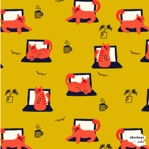 Laptop Cats Surface Pattern Design