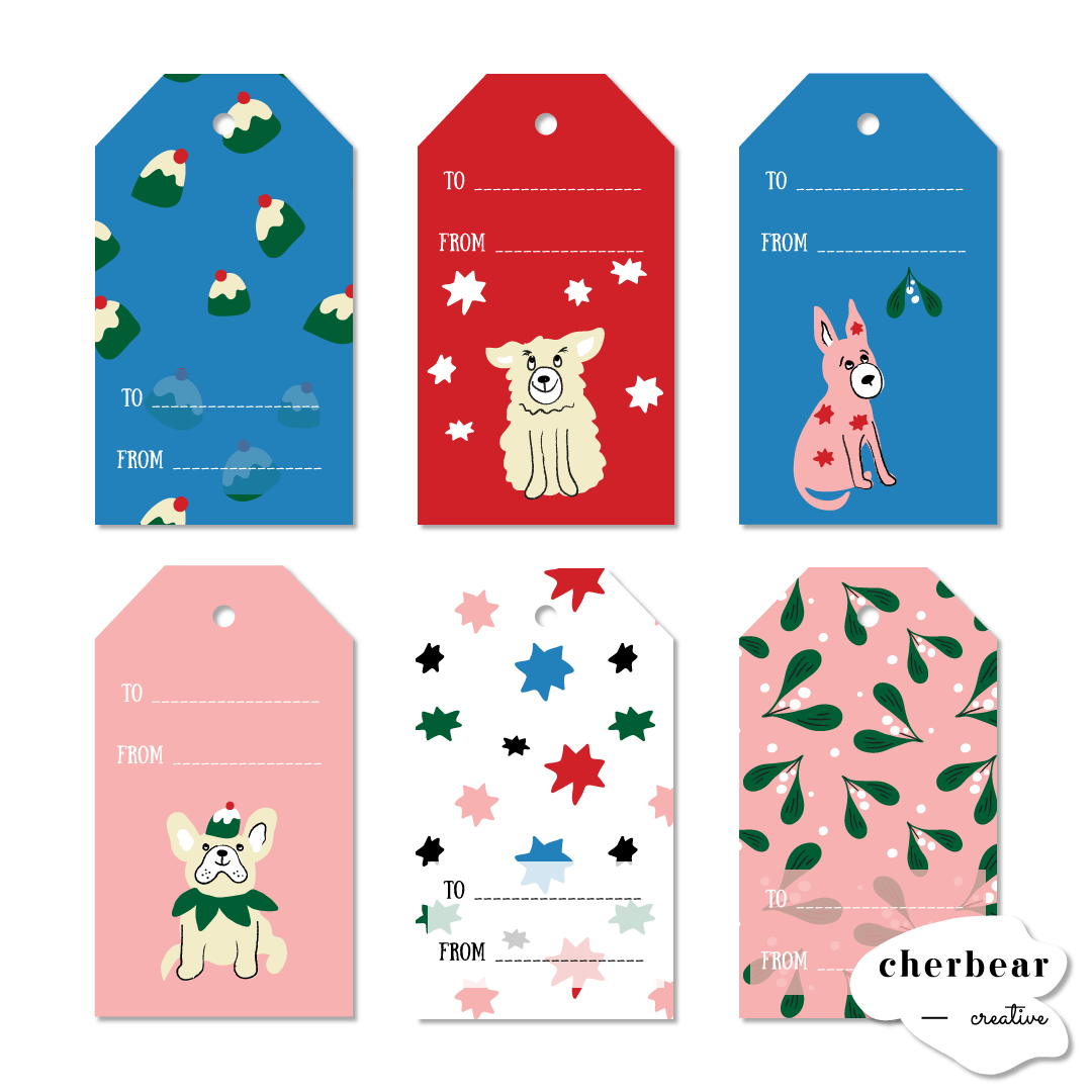 Free Printable Gift Tags: Christmas Dogs