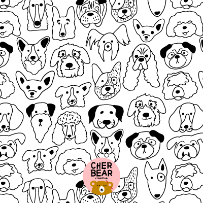 Friendly Foster Dog Faces Spoonflower Fabric