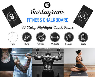 Fitness Chalkboard Instagram Story Highlight Cover Icons