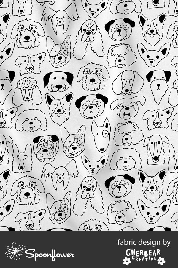Black and White Dog Faces Fabric by Cherbear Creative