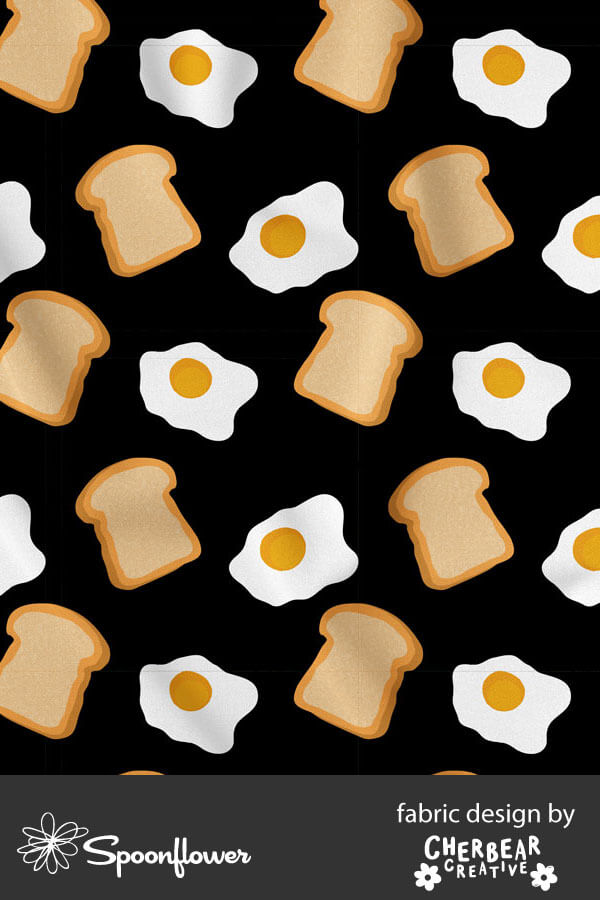 Fried Eggs and Toast Fabric by Cherbear Creative Studio