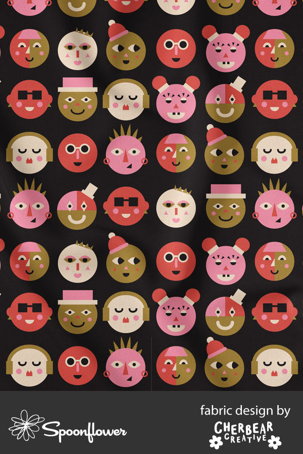Face Shapes Fabric by Cherbear Creative