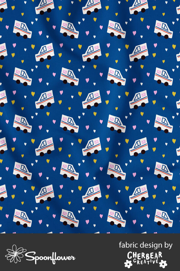 USPS Mail Truck Fabric by Cherbear Creative