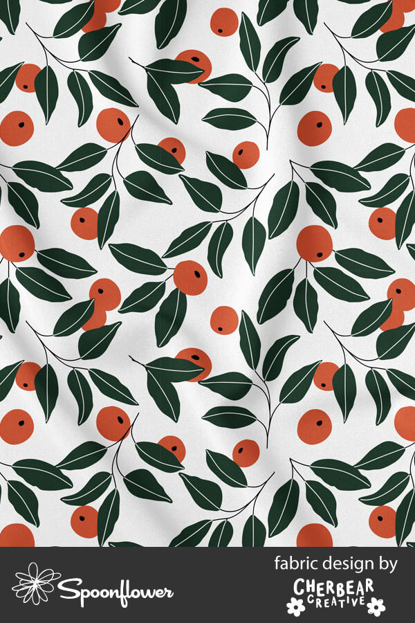 Oranges Fabric by Cherbear Creative