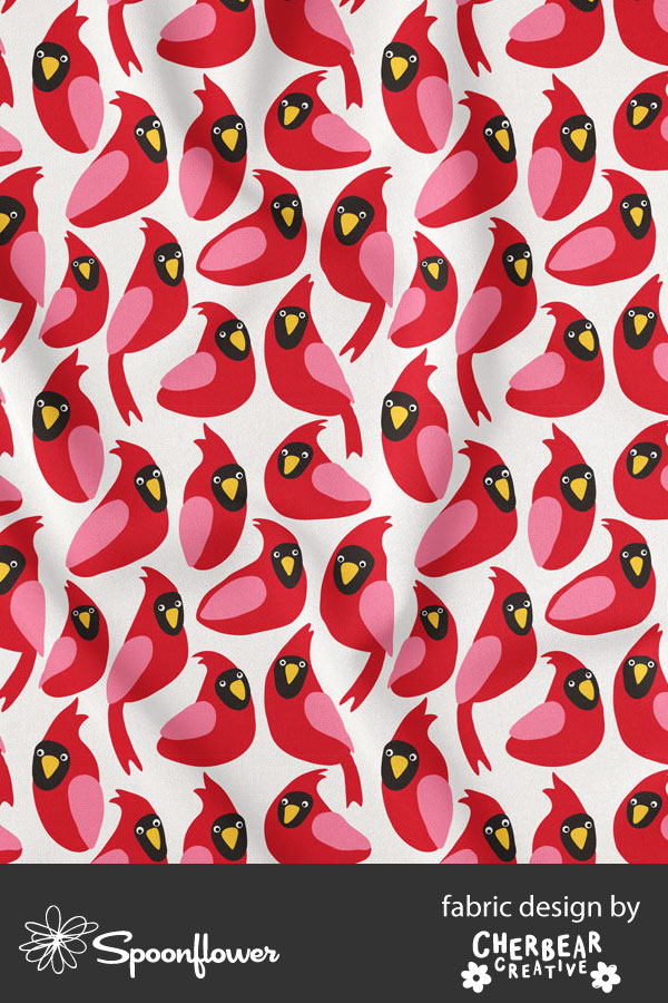 Red Cardinals Fabric by Cherbear Creative