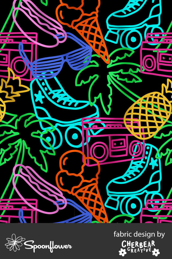 Neon Roller Skates Fabric by Cherbear Creative Studio