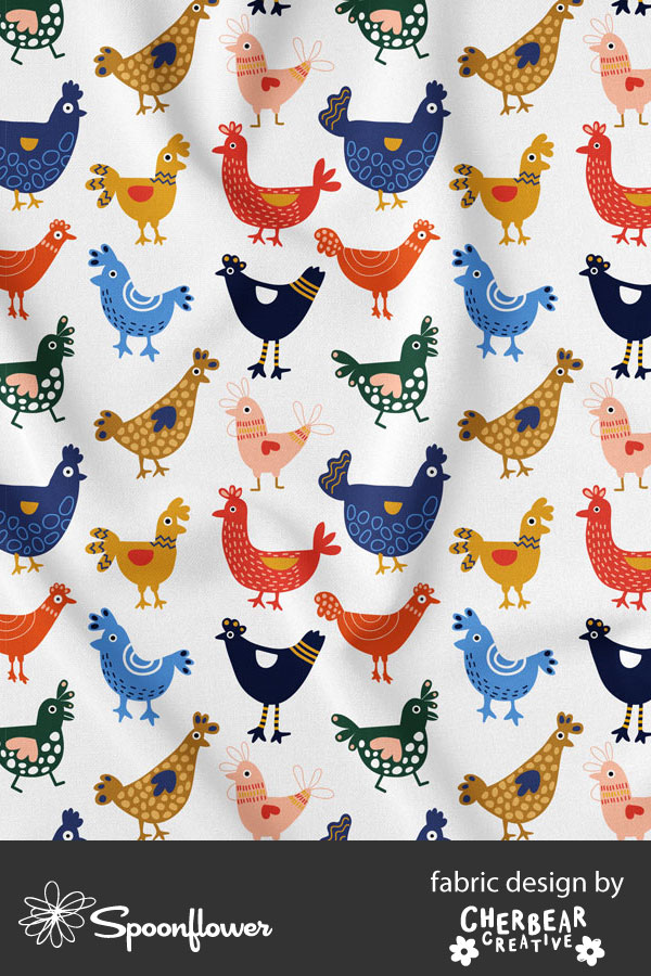 Chickens Fabric by Cherbear Creative