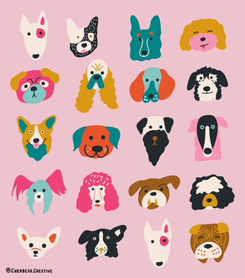Dogg Faces Art Print by Cherbear Creative Studio