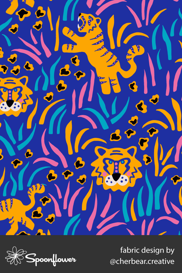 Tigers in the Grass Fabric by Cherbear Creative Studio