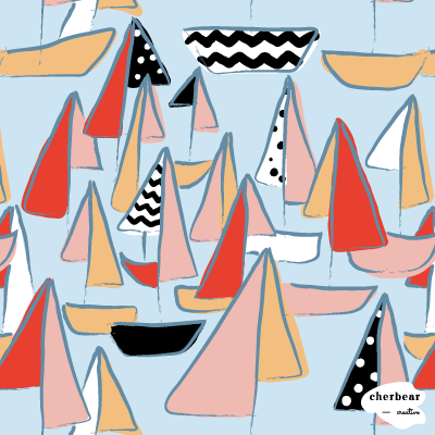 80s Retro Boat Pattern