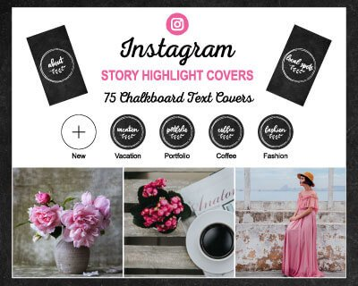 Chalkboard Text Instagram Highlight Covers