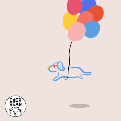 Dachshund with Balloons Gif