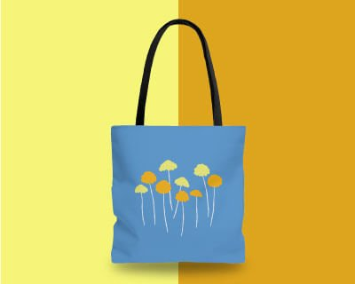 Dandelions Blue and Yellow Floral Tote Bag