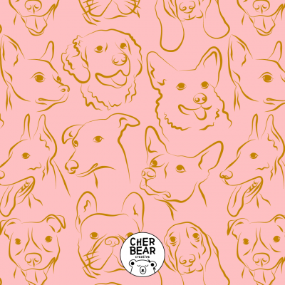 Pink Dog Pattern by Cherbear Creative