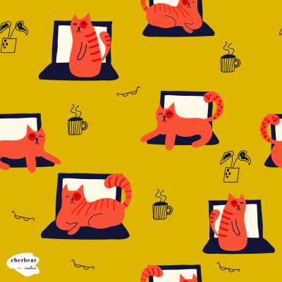 Fabric designs - Laptop Cats