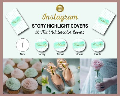 Mint Watercolor Instagram Highlight Covers