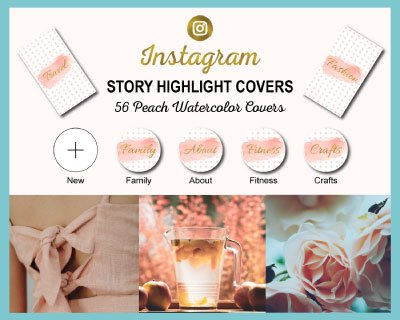 Peach Watercolor Instagram Highlight Covers