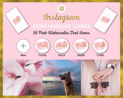 Pink Watercolor Instagram Highlight Covers