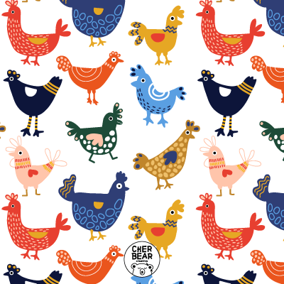 Colorful Chicken Pattern by Cherbear Creative