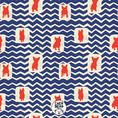 Retro French Bulldog Pattern by Cherbear Creative