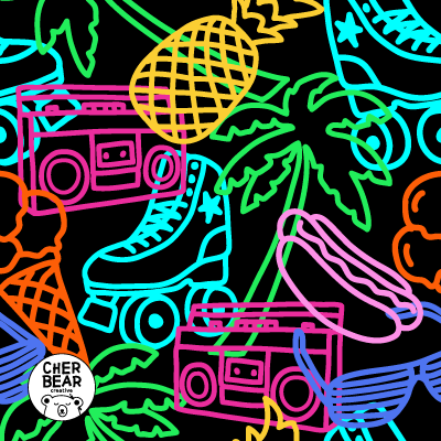 Roller Rink Nostalgia Fabric pattern design by Cherbear Creative